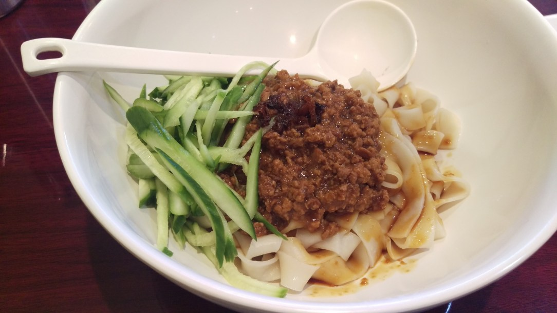 Fried Sauce Noodles with Cucumber