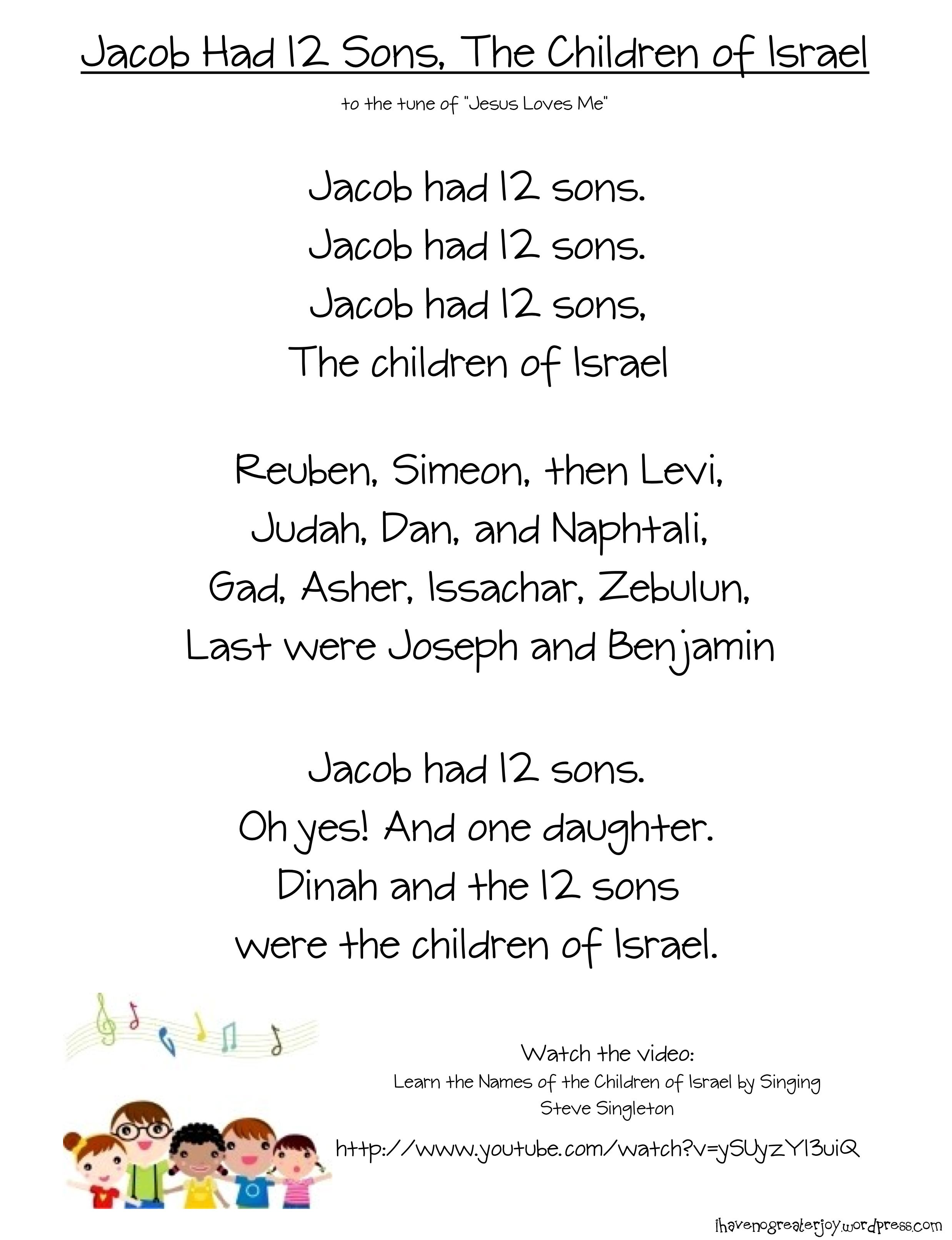 Jacob Had 12 Sons Song