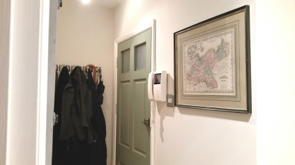 Entry way with David's map that includes Bromberg, Prussia
