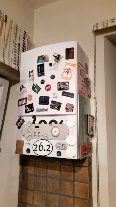 Since we can't put magnets on our fridge, any mail you send us will go proudly on the water heater.