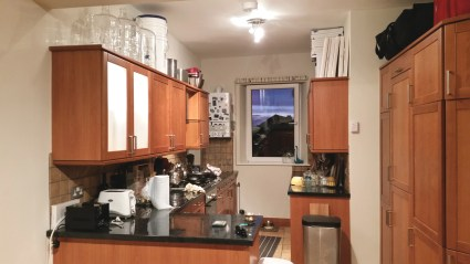 Kitchen with adequate brewing and painting storage up top
