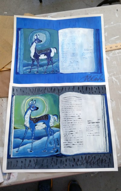 Artist book project: Students had to paint a book spread of artwork, first in monochrome, then in full color