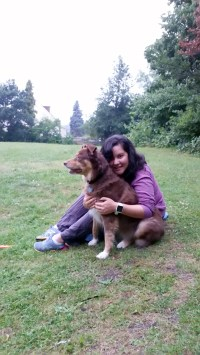Finally back in Finchley with Zeke dog at our park