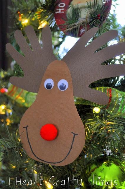 Handprint Reindeer Ornament I Heart Crafty Things