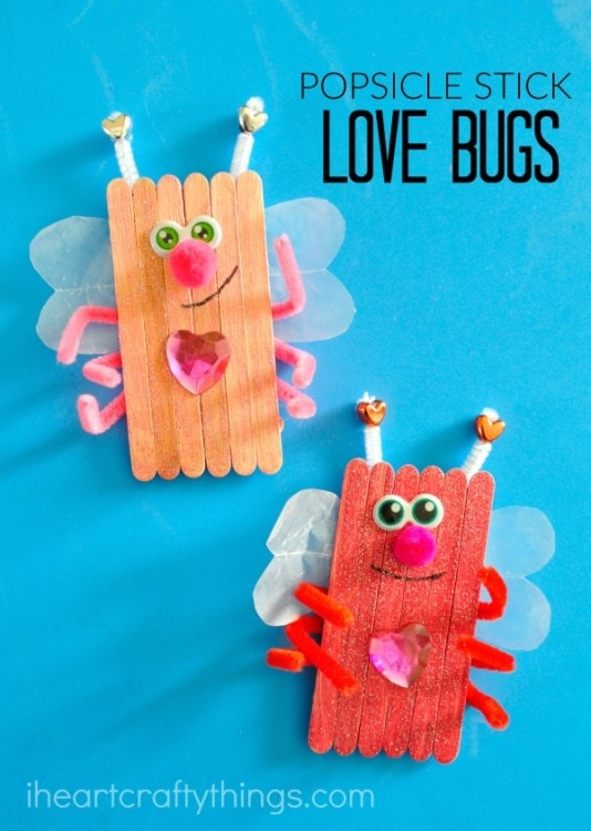 Popsicle Stick Love Bugs Valentines Day Craft I Heart