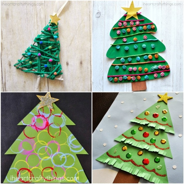 Art and craft christmas tree decorations for Christmas tree arts and crafts