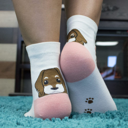 White Pink Argyle Puppy Socks