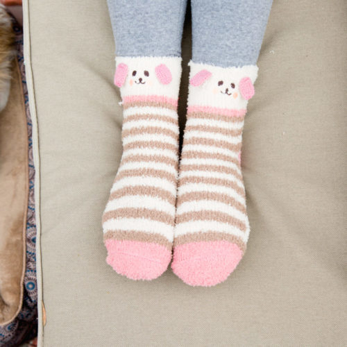 Fuzzy Brown stripes Doggy Socks