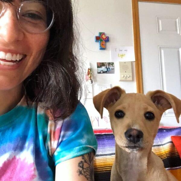 Melissa Villaseñor with Puppy