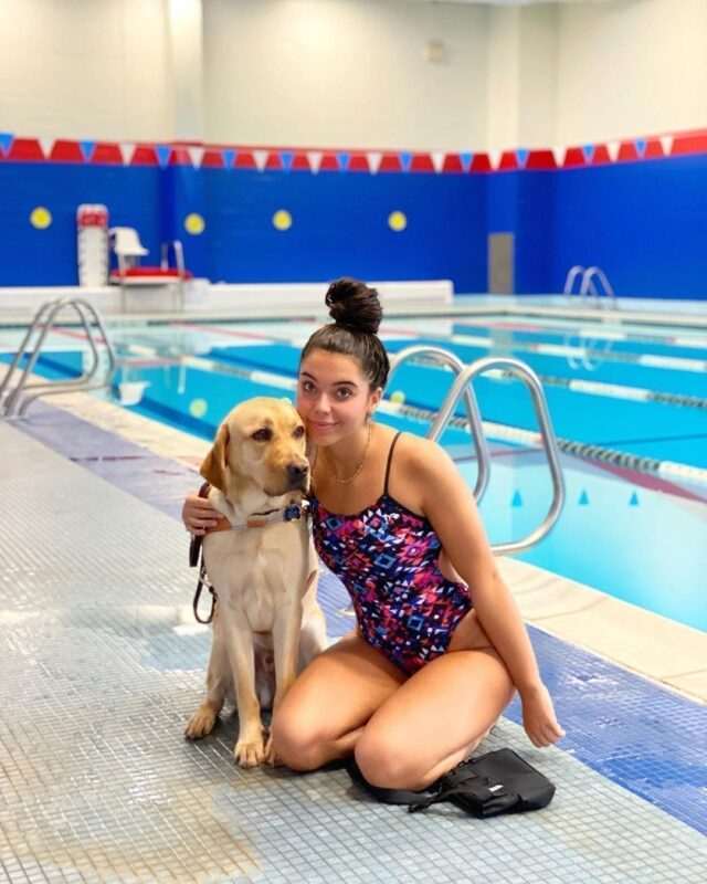 Service Dog at Pool