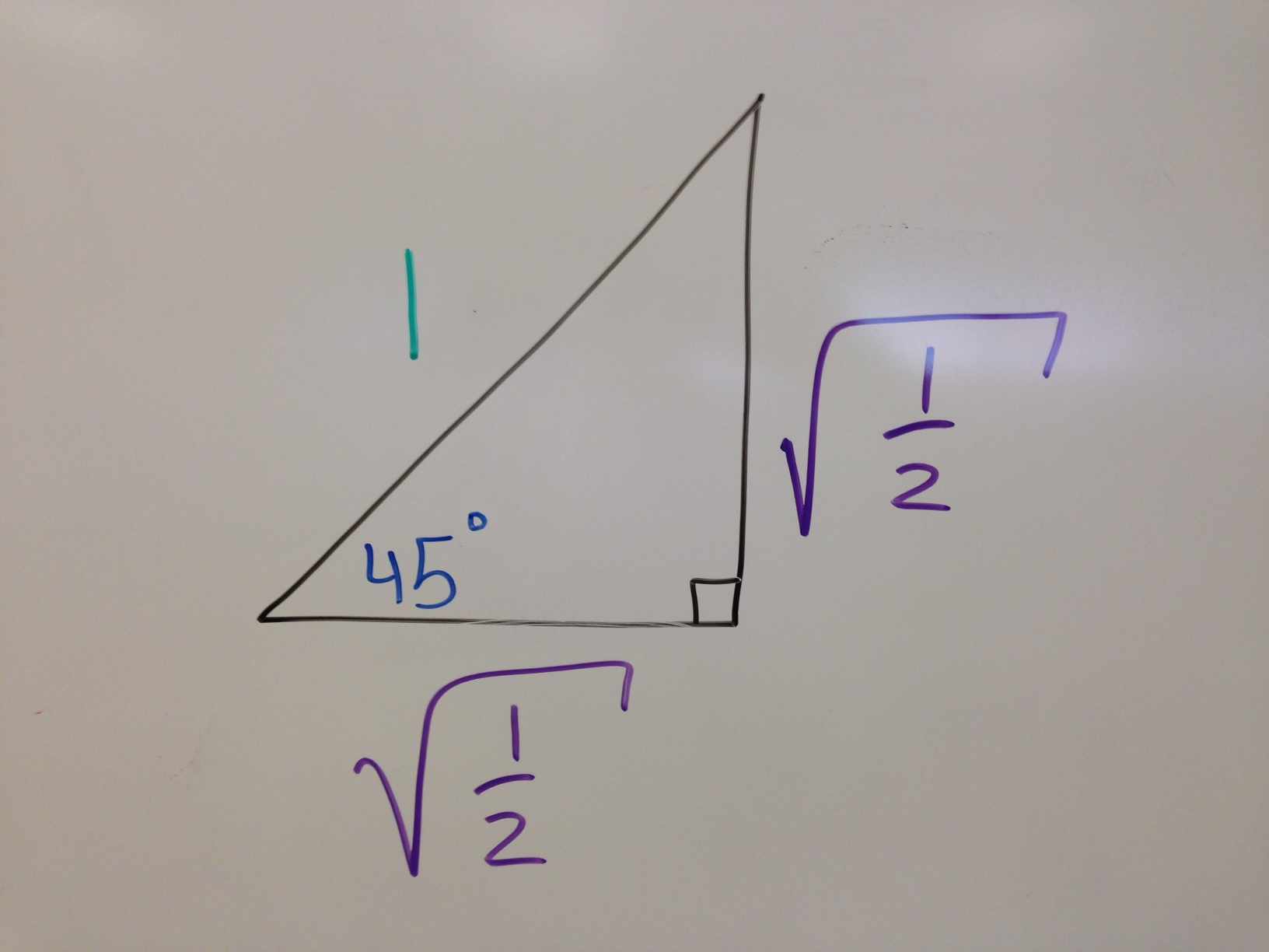 Trigonometry Trig Values Special Right Triangles 45 45