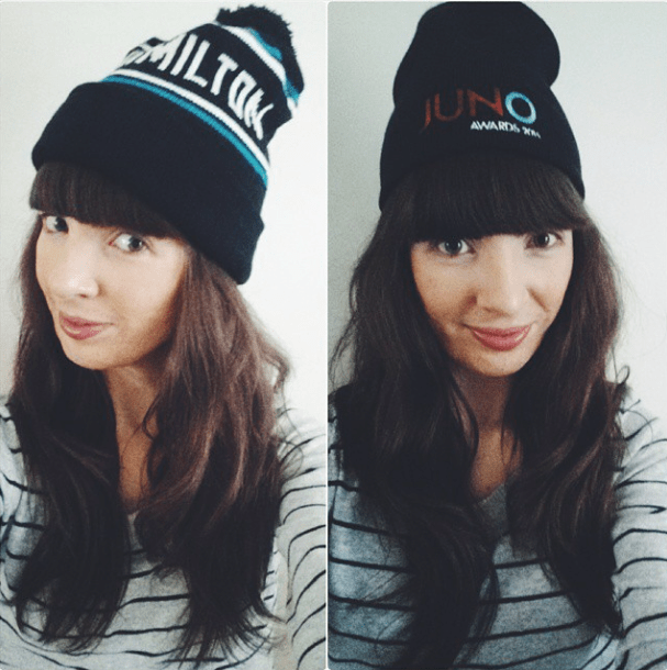 Went in with one hat and left with two. Right: Hamilton toque from White Elephant. Left: JUNOs toque