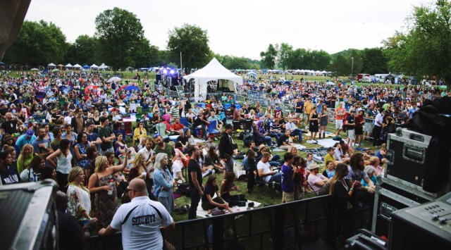 View of the audience from the stage at Harvest Picnic 2015