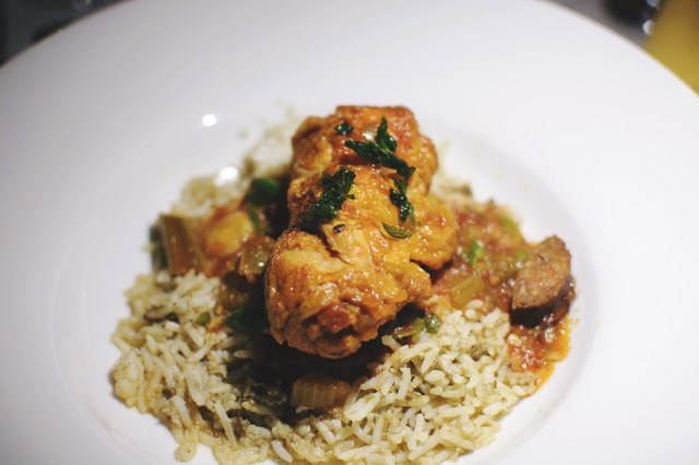 3rd Course: Chicken Jambalaya, dirty rice, pickled ora. Photo by Lisa Vuyk