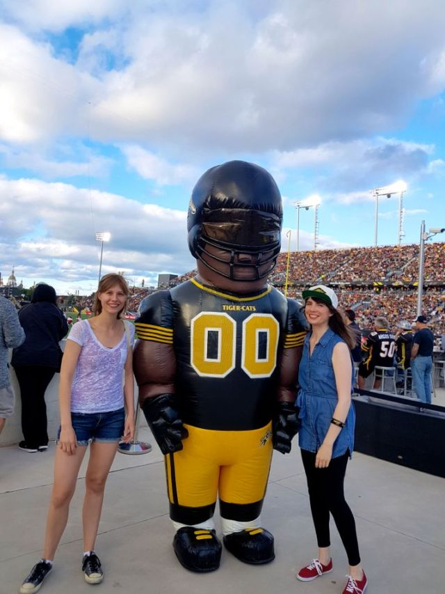 Lisa and Kristin at the Hamilton TiCats game