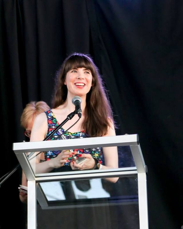 Kristin Archer winning Website/Online Publication of the Year at the 2016 Hamilton Music Awards. Photo by Misha Fotos