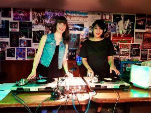 Kristin and Seema DJing Mom Jean Jam