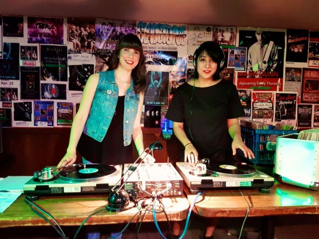 Kristin and Seema DJing Mom Jean Jam