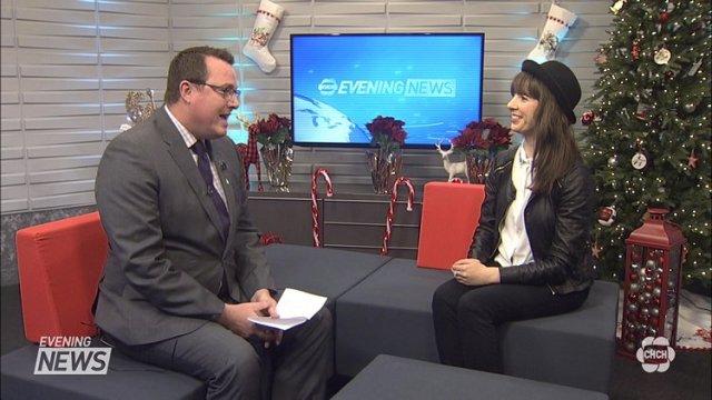Kristin with Adam Atkinson on CHCH News. Photo courtesy of CHCH.