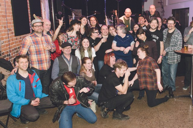 Sonic Unyon staff and friends. Photo by Mike Highfield.