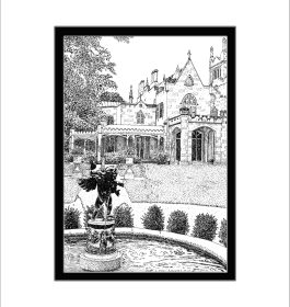 Lyndhurst Mansion Fountain, Pen and Ink Print