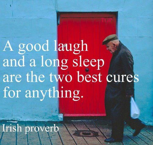 A good laugh and a long sleep are the two best cures for anything. Irish proverb
