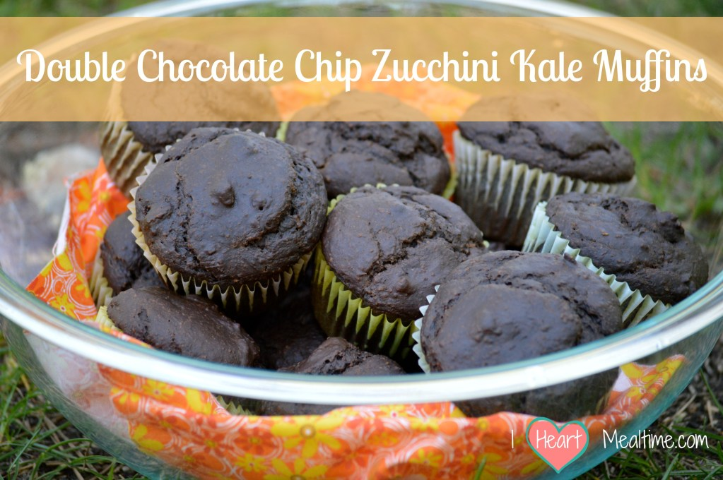 Double Chocolate Chip Zucchini Kale Muffins