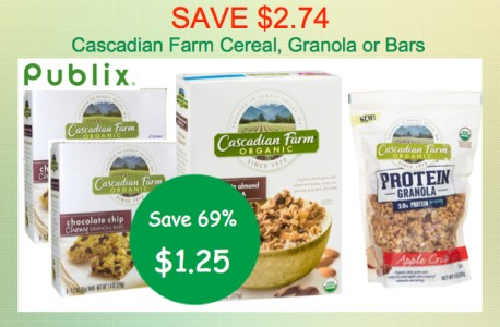 Cascadian Cereal Granola or Bars Coupon Deal