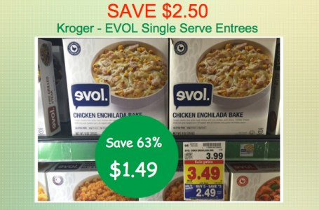 Evol Single Serve Entree Coupon Deal