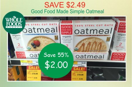 Good Food Made Simple Oatmeal coupon deal