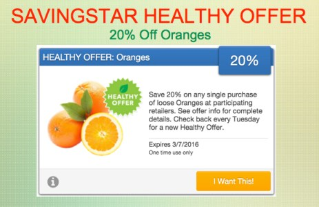 Savingstar Healthy Offer of the Week Oranges