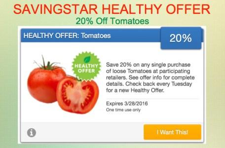 Savingstar Healthy Offer of the Week Tomatoes