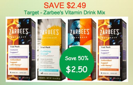 Zarbee's Vitamin Drink Mix Coupon Deal