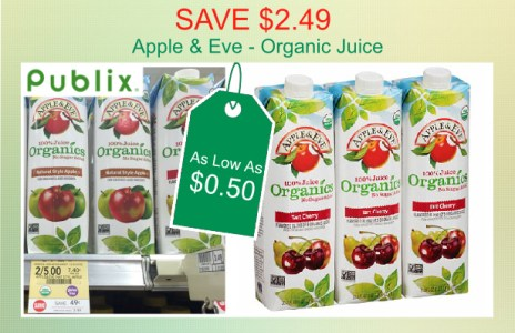 Save 249 Publix Apple Eve Organic Juice Coupon Deal For 050