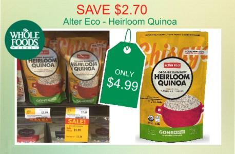 Alter Eco Heirloom Quinoa coupon deal