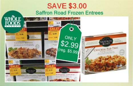 Save 300 Whole Foods Saffron Road Frozen Entrees Coupon Deal