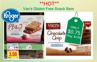Van's Gluten Free Snack Bars coupon deal