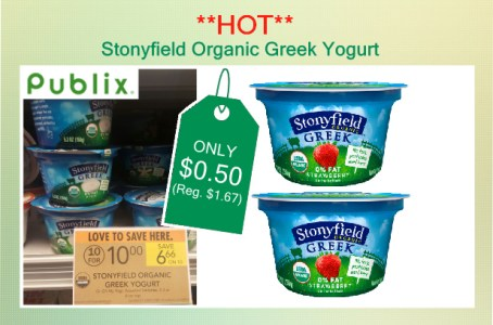 Stonyfield Organic Greek Yogurt coupon deal