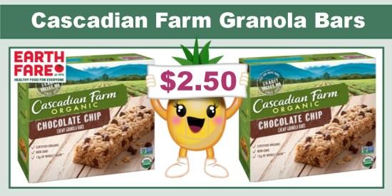 Cascadian Farm Organic Chocolate Chip Granola Bars coupon deal