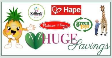 huge savings on melissa & doug, hape , kidkraft and green toys