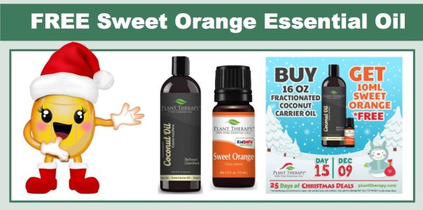 Plant Therapy: FREE 10 ml Sweet Orange Essential Oil w/ Fractionated Coconut Carrier Oil (16oz) Purchase!
