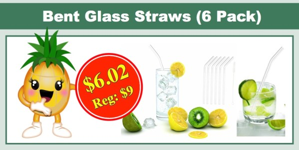 iZEEKER Clear Bent Premium Glass Straw (6 Pack)