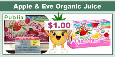 Apple & Eve Organic Juice or Quenchers Coupon Deal