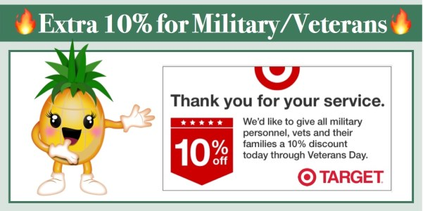 Target: 10% off for Military Personnel, Vets and Families (Nov 7 - Nov 11)
