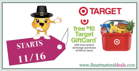 Target $10 Gift Card wyb $50 in Food and/or Beverage
