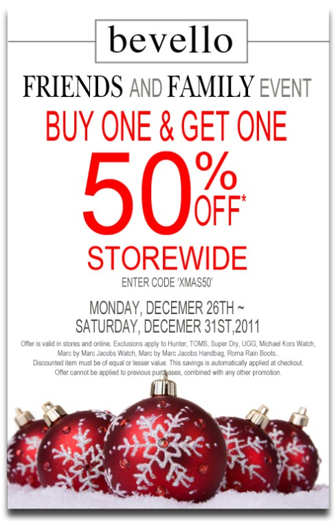 bevello friends and family sale