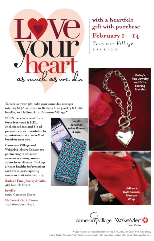 Love your heart at Cameron Village through Valentine's Day