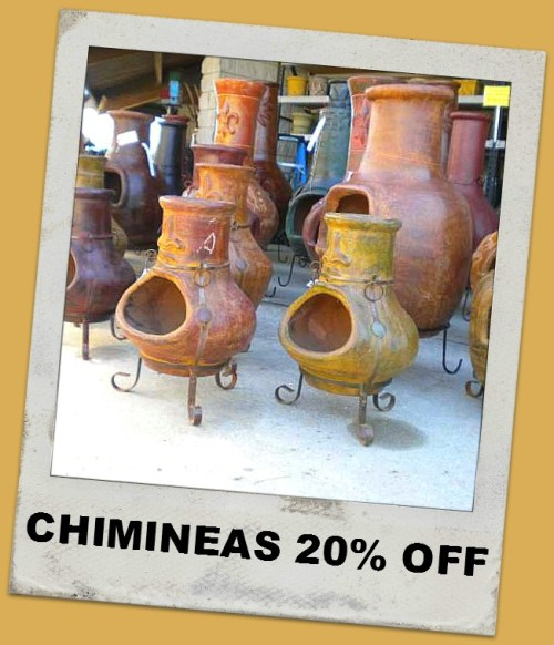 20% off chimineas at Market Imports in Raleigh