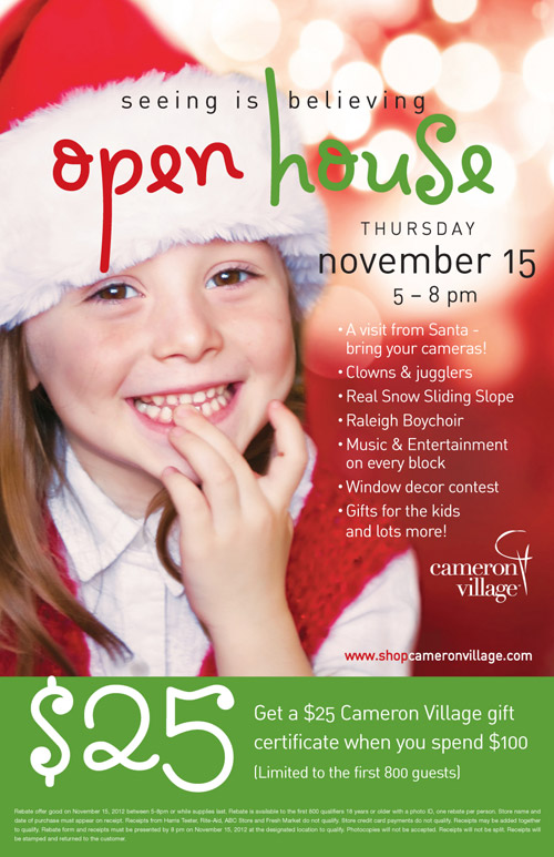 Cameron Village Holiday Open House - Thursday, November 15, 2012