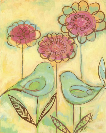 Green Love Birds print from Rosenberry Rooms in Raleigh